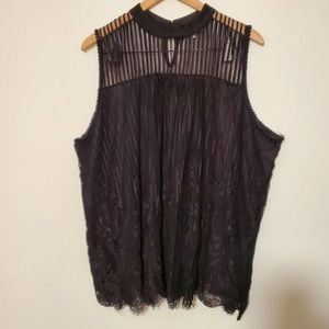Eve & Maddie Black Lace MockNeck Sleeveless Blouse